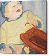 Baby With Baseball Glove Acrylic Print
