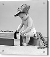 Baby With Work Tools And Lunch Pail Acrylic Print