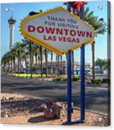 R.i.p. Back Of The Welcome To Downtown Las Vegas Sign Day Acrylic Print