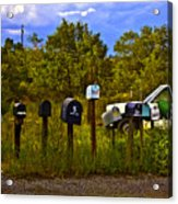 Back Road Mailboxes Acrylic Print