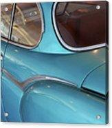 Back Side Of A Blue Vintage Car  Acrylic Print