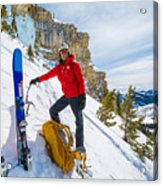 Backcountry Skier Preps For Ice Climbing On Cobb Peak In Idaho Acrylic Print