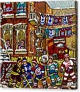 Backlane Snowy Winter Scene Hockey Game Verdun Alley Montreal Team Jerseys Canadian Art Acrylic Print