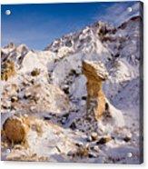 Badlands Hoodoo In The Snow Acrylic Print