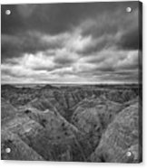 Badlands White River Valley Bw Acrylic Print