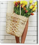 Bag With A Bouquet Of Tulips Acrylic Print