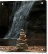 Balanced Stones Waterfall Acrylic Print