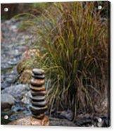 Balancing Zen Stones In Countryside River V Acrylic Print
