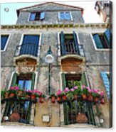 Balcony With Flowers In Venice, Italy Acrylic Print
