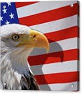 Bald Eagle And Us Flag Acrylic Print