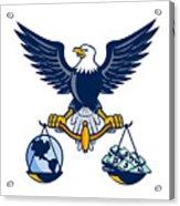 Bald Eagle Hold Scales Earth Money Retro Acrylic Print