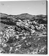 Bald Mountain Rock Formation In Black And White Acrylic Print