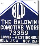 Baldwin Diesel Builders Plate Acrylic Print