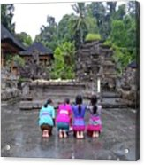 Bali Temple Women Bowing Acrylic Print