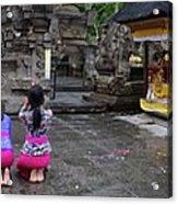 Bali Temple Women Bowing Panoramic Acrylic Print