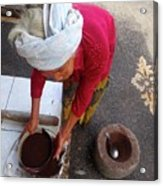 Balinese Lady Sifting Coffee Acrylic Print
