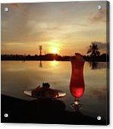 Balinese Orange Sunset With Drink Acrylic Print