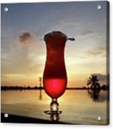Balinese Sunset With Red Drink Acrylic Print