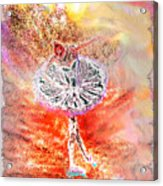 Ballerina Bowing With Flowers Acrylic Print
