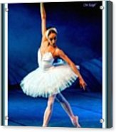Ballerina On Stage L A With Decorative Ornate Printed Frame. Acrylic Print
