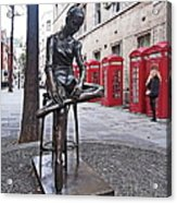 Ballerina Statue And Telephone Boxes Acrylic Print