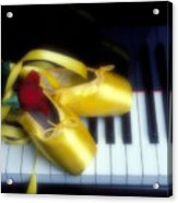 Ballet Shoes On Piano Keys Acrylic Print by Garry Gay