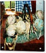 Balls Of Cloth Strips In Basket Acrylic Print