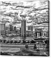 Baltimore Inner Harbor Dramatic Clouds Panorama In Black And White Acrylic Print