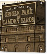Baltimore Orioles Park At Camden Yards Sepia Acrylic Print