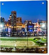 Baltimore Skyline Panorama At Dusk Acrylic Print