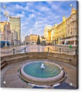 Ban Jelacic Square In Zagreb Advent View Acrylic Print