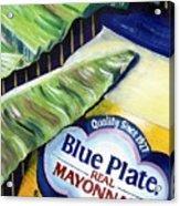 Banana Leaf Series - Blue Plate Mayo Acrylic Print by Terry J Marks Sr