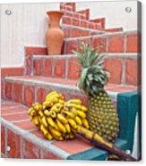 Bananas And Pineapple On Terracotta Steps Acrylic Print