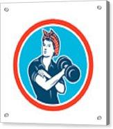 Bandana Woman Lifting Dumbbell Circle Retro Acrylic Print