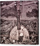 Banjo Mandolin On Garden Wall Acrylic Print by Bill Cannon