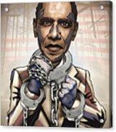 Barack Obama - Stimulate This Acrylic Print by Sam Kirk
