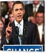 Barack Obama On Stage For Barack Obama Acrylic Print