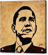 Barack Obama Original Coffee Painting Acrylic Print by Georgeta  Blanaru