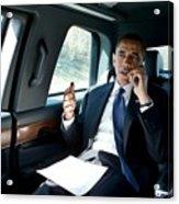 Barack Obama Talks To A Member Acrylic Print by Everett