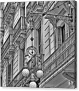 Barcelona Balconies In Black And White  Acrylic Print