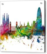 Barcelona Spain Skyline Panoramic Acrylic Print