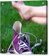 Barefoot In The Grass Acrylic Print by David April