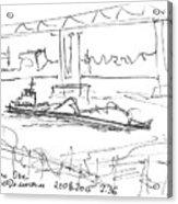 barge under Kanavinsky Bridge. 21 August, 2015 Acrylic Print