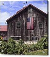 Barn And American Flag Acrylic Print
