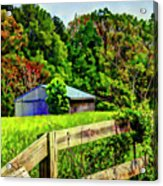 Barn And Fence In Tall Grass Acrylic Print