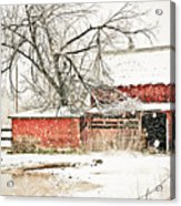 Barn And Pond Acrylic Print