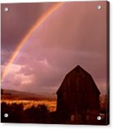 Barn And Rainbow In Autumn Acrylic Print