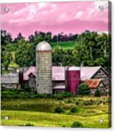 Barn And Silo With Infrared Touch Of Pink Effect Acrylic Print
