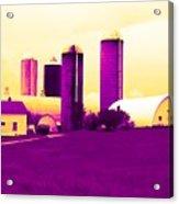 Barn And Silos Amertrine Effect Acrylic Print