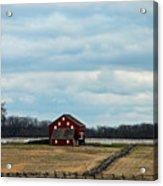 Barn And Split Rail Fence Acrylic Print